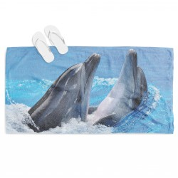 Prosop de plajă cu desene marine Delfini - Dolphins