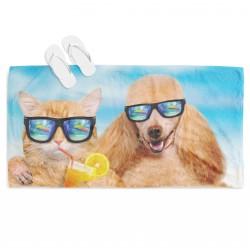Prosop de plajă amuzant Câine și pisică pe plajă - Dog and Cat on the Beach