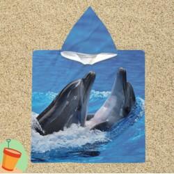 Poncho cu gluga pentru copii Dolphins