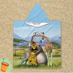 Poncho cu gluga pentru copii Madagascar