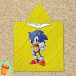 Poncho cu gluga pentru copii Sonic