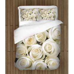 Set de pat romantic Trandafiri albi - White Roses