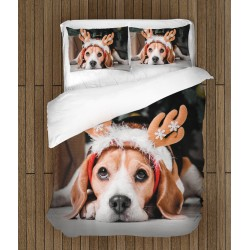 Set de pat Beagle de Crăciun - Christmas Beagle