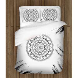 Lenjerie de pat Mandală alb&negru - Black&White Mandala