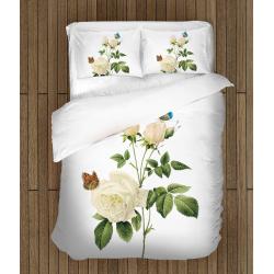 Cearșafuri Trandafir alb cu fluturi- White Rose And Butterflies