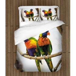 3D Lenjerie de pat Papagali multicolori - Colorful Parrots