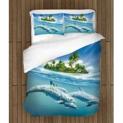 Set de pat de vară Delfini - Dolphins