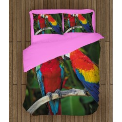 Set de pat Papagali cuplu - Couple Parrots