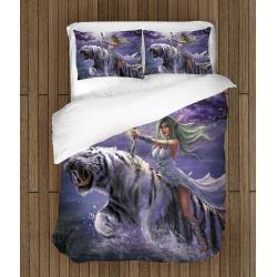 Lenjerie de pat de poveste Femeie Elf cu Tigru - Female Elf Tiger Warcraft