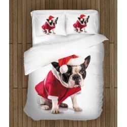 Lenjerie de pat Buldog Francez de Crăciun - Christmas French Bulldog