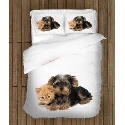 Set cearșafuri Yorkshiere Terrier și pisicuță - Yorkshiere Terrier and Kitten