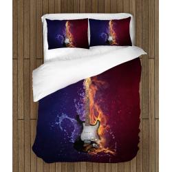 Lenjerie de pat Artă Kitară - Quitar Fire Ice
