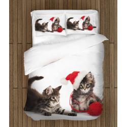Lenjerie de pat de crăciun Pisoi cu gheme- Kittens with yarn