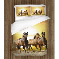 Lenjerie de pat romantică Cai la apus de soare- Horses Sunset