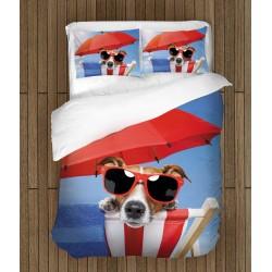 Lenjerie de pat minunată Cățel pe plajă - Beach Dog