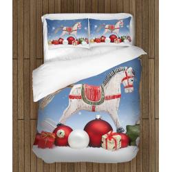 Set de pat pentru copii Crăciun Cal balansoar- Rocking Horse