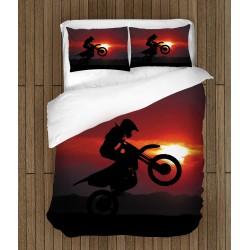 Lenjerie de pat Motocicletă la apus - Motorcycle Sunset