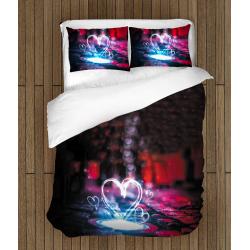 3D Lenjerie de pat romantică Înimă de neon - Neon Heart