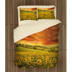 Lenjerie de pat temă romantică Câmp de Floarea soarelui - Sunflower Field