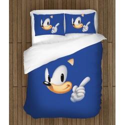 Lenjerie de pat copii Sonic în albastru - Sonic Blue