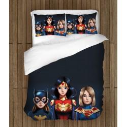 Set lenjerie de pat copii Fetițe Superhero -Super Hero Girls