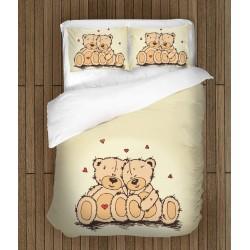 Lenjerie de pat romantică Ursuleți îndrăgostiți - Teddy Bears in Love