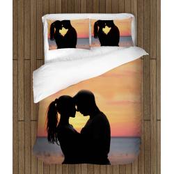 Lenjerie de pat temă romantică Îndrăgostiți la apus - Sunset In Love