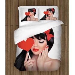 Cearșafuri de pat temă romantică pentru îndrăgostiți Fată îndrăgostită - Girl In Love