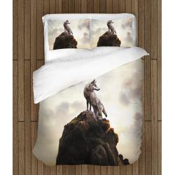 Lenjerie de pat Lup pe stâncă - Wolf On a Rock