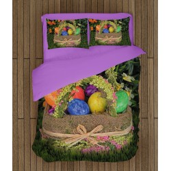 Lenjerie de pat Paști Coșniță cu ouă - Eggs in a Basket