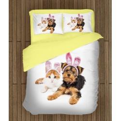 Lenjerie de pat Câine și pisică de Paști- Easter Dog and Cat